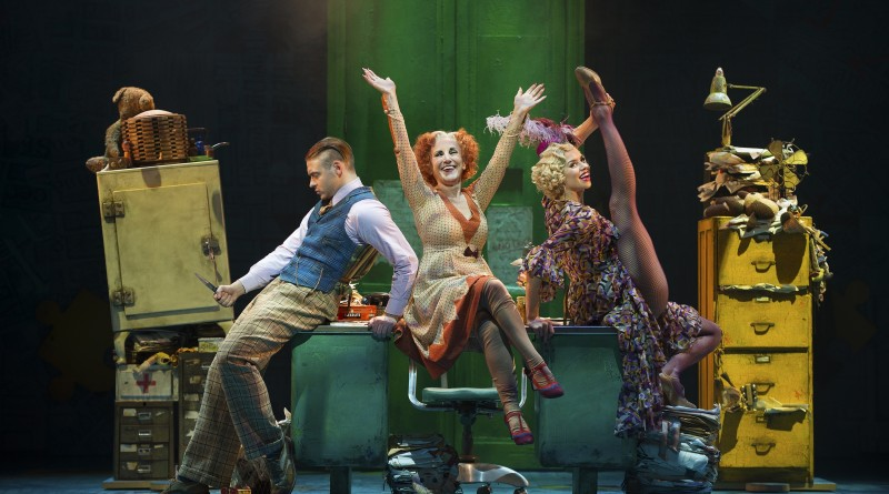 ANNIE -  Jonny Fines as 'Rooster', Lesley Joseph as 'Miss Hannigan' and Djalenga Scott as 'Lily'. Photo credit Paul Coltas