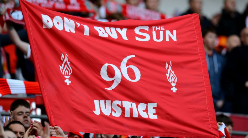 LONDON, ENGLAND - APRIL 14:  Liverpool fans hold banners in protest against the Sun newspaper prior to the FA Cup with Budweiser Semi Final match between Liverpool and Everton at Wembley Stadium on April 14, 2012 in London, England.  (Photo by Mike Hewitt/Getty Images)