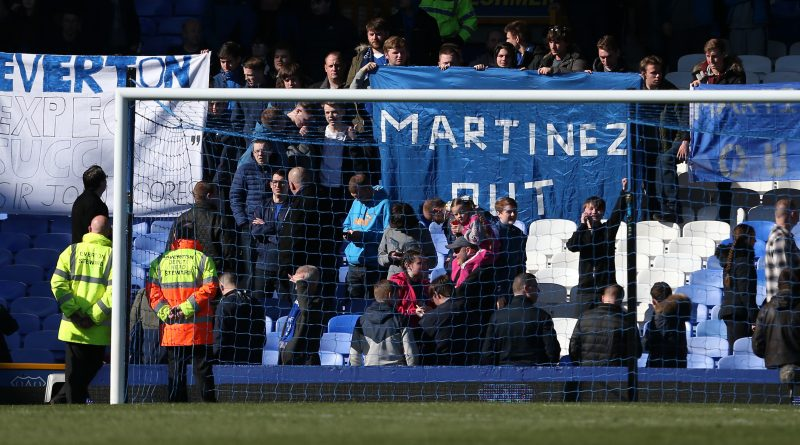 LIVERPOOL, UNITED KINGDOM - APRIL 30:  Everton supporters hold banners 'Martinez Out'' after the Barclays Premier League match between Everton and A.F.C. Bournemouth at Goodison Park on April 30, 2016 in Liverpool, England.  (Photo by Jan Kruger/Getty Images)