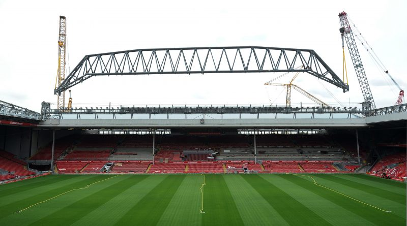 LIVERPOOL, ENGLAND - JULY 24:  The Main Stand roof truss is attached to the stand at Anfield on July 24, 2015 in Liverpool, England.  (Photo by John Powell/Liverpool FC via Getty Images)