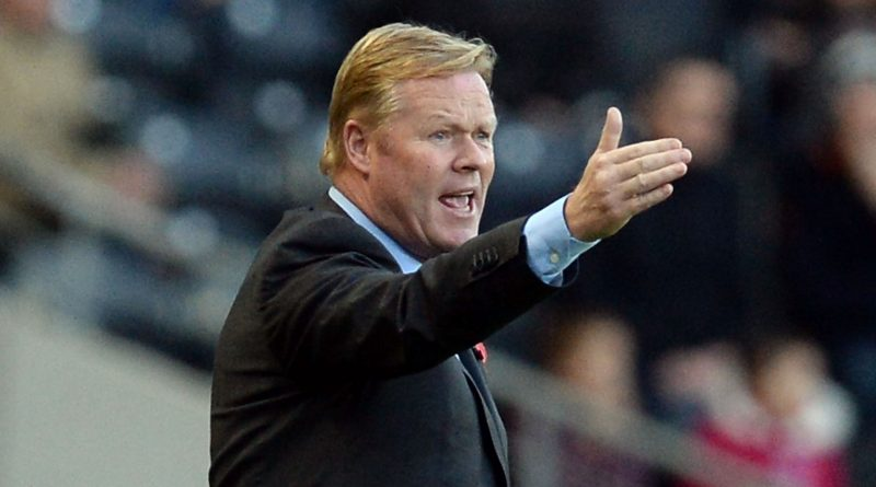 HULL, ENGLAND - NOVEMBER 01:  Ronald Koeman manager of Southampton reacts during the Premier League Football match between Hull City and Southampton at KC Stadium on November 1, 2014 in Hull, England.  (Photo by Nigel Roddis/Getty Images)