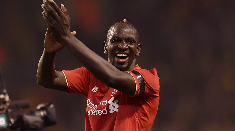LIVERPOOL, ENGLAND - APRIL 14:  (THE SUN OUT, THE SUN ON SUNDAY OUT) Mamadou Sakho of Liverpool shows his appreciation to the fans at the end of during the UEFA Europa League Quarter Final: Second Leg match between Liverpool and Borussia Dortmund at Anfield on April 14, 2016 in Liverpool, United Kingdom.  (Photo by Andrew Powell/Liverpool FC via Getty Images)