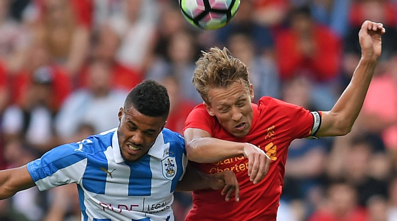HUDDERSFIELD, ENGLAND - JULY 20:  THE SUN OUT THE SUN ON SUNDAY OUT  Huddersfield Town v Liverpool - Lucas of Liverpool in action with Elias Kachunga of Huddersfield Town during the Pre-Season Friendly at Galpharm Stadium on July 20, 2016 in Huddersfield, England.  (Photo by John Powell/Liverpool FC via Getty Images)