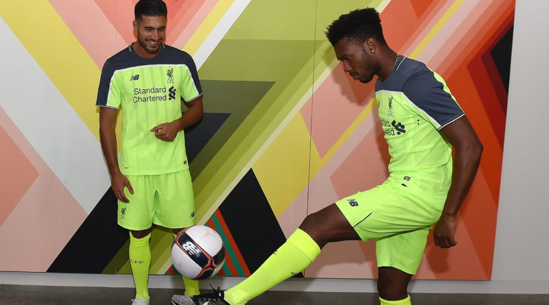 PALO ALTO, CA - JULY 28:  (THE SUN OUT, THE SUN ON SUNDAY OUT) Daniel Sturridge, Emre Can and Sadio Mane of Liverpool during the launch of the new third kit at the Facebook Village on July 28, 2016 in Palo Alto, California.  (Photo by Andrew Powell/Liverpool FC via Getty Images)