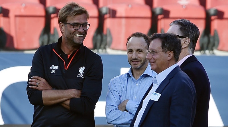SANTA CLARA, CA - JULY 29:  (THE SUN OUT, THE SUN ON SUNDAY OUT) Jurgen Klopp manager of Liverpool with the owners of Liverpool Tom Werner, John Henry and Mike Gordon during a training session at Levi's Stadium on July 29, 2016 in Santa Clara, California.  (Photo by Andrew Powell/Liverpool FC via Getty Images)